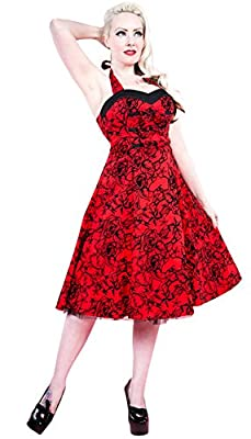 H&R London Red Tattoo Flock 50's Swing Dress