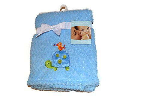 Cuddle Me Baby Blanket by NoJ0-Blue with Turtle and Bird - 1