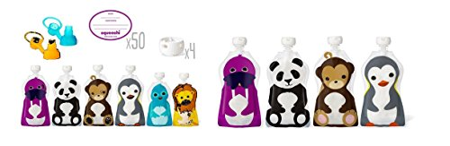 Squooshi Starter Kit and Four Reusable Food Pouches Bundle - 1
