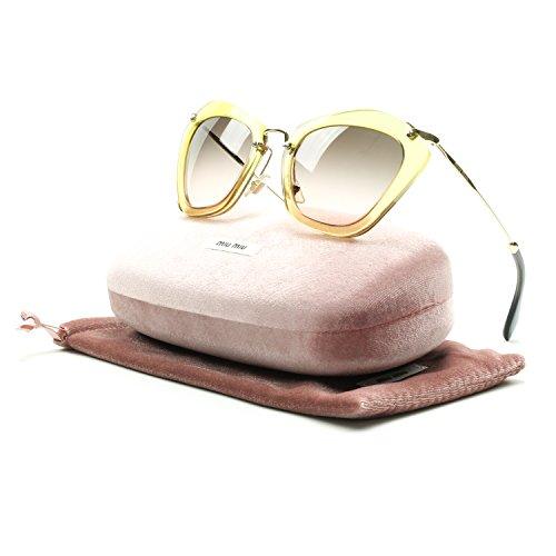 Miu Miu 10NS PDA1F2 Glitter Gold 10NS Noir Cats Eyes Sunglasses Lens Category 2