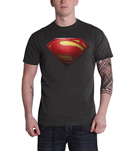 Superman Man of Steel 3D Logo Official DC Comics Mens New Grey T Shirt