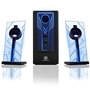GOgroove BassPULSE Computer Speaker System with Blue LED Glow Lights & Powered Subwoofer - Works with PC , Apple MAC , ASUS , Acer , Alienware , CybertronPC , Dell , HP , & More Computers