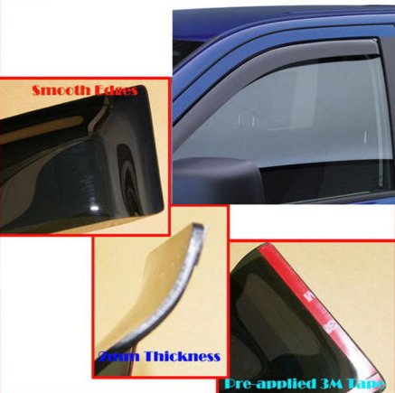 For 05-15 Nissan Frontier Crew Cab Window Vent Visors Deflector Sun Rain Wind (A9075) (Sun Visor For Nissan Frontier compare prices)