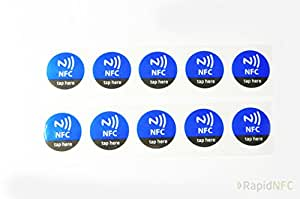 RapidNFC 29mm NTAG213 NFC Tags 'Tap Here' Pack de 10