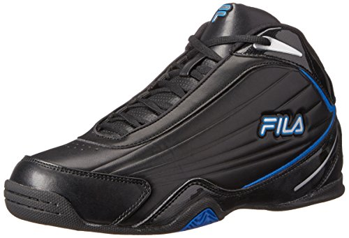 Fila Men's Slam 12C Basketball Shoe, Black/Electric Blue/Metallic Silver, 10 M US