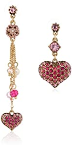 """Betsey Johnson """"Hanging Hearts Boost"""" Pave Heart Mismatch Drop Earrings"""
