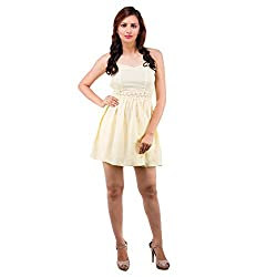 Centiaro Women's Casual Wear Yellow Poly Cotton Dress