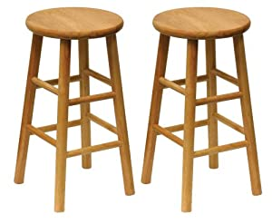 Winsome Wood Wood 24-Inch Counter Stools, Set of 2, Natural Finish by Winsome