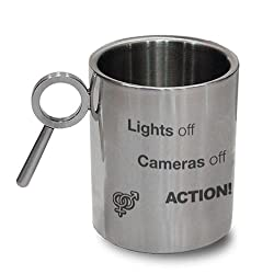 Hot Muggs Lights off Cameras off Action Stainless Steel Double Walled Mug, 350ml