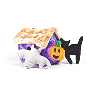 Kyjen 2553 Hide A Haunted House Squeak Toy Dog Toys, Large, Purple