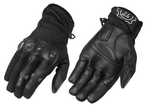 FirstGear Mesh Tex Men's Vented Textile/Leather Street Motorcycle Gloves - Black / Large