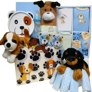 Art Of Appreciation Gift Baskets Tails A Waggin Little Puppy New Baby Gift Basket, Boy
