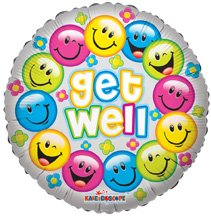 Conver USA 19289-18SP Get Well Color Smiles Packed Balloon, 18""