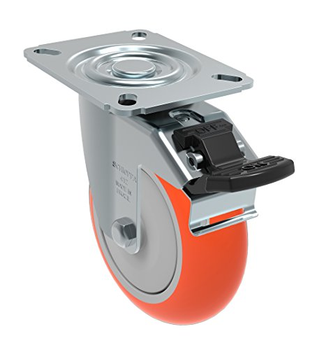 Schioppa GL 412 UPE G L12 Series 4″ x 1-1/4″ Diameter Swivel Caster with Total Lock Brake, Non-Marking Polyurethane Precision Ball Bearing Wheel, Plate 3-1/8″ x 4-1/8″ (Bolt Holes 3-1/8″ x 2-1/4″), 275 lb