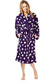 Shawl Collar Heart Print Dressing Gown