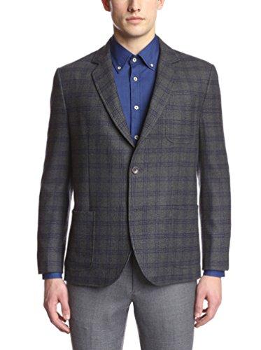 Brooklyn Tailors Men's Unstructured Windowpane Rustic Flannel Wool Sportcoat