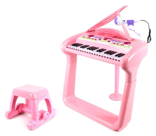 Classical Elegant Piano Children'S Musical Instrument Toy Keyboard Play Set W/ Microphone, Stool, 37 Key Piano, Records And Playbacks Music (Pink)