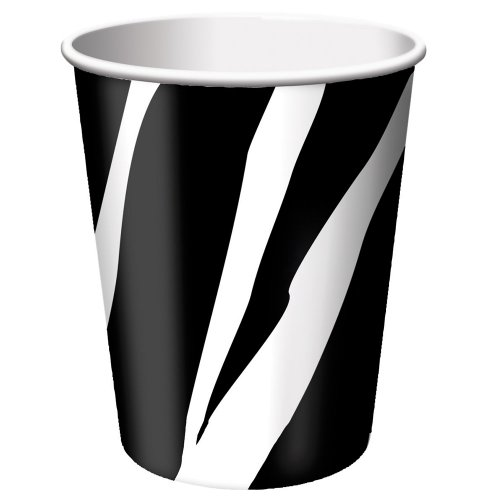 Creative Converting Animal Print Zebra Hot or Cold Beverage Cups, 8 Count