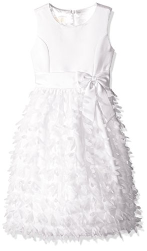 American Princess Big Girls' Petal Flutter Dress, White, 8