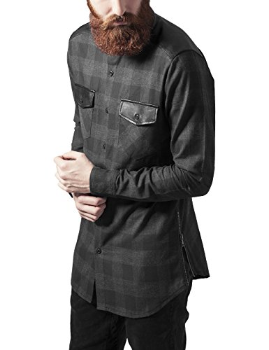 Urban Classics Side Zip Leather Shoulder Flanell Shirt-Camicia Uomo, Mehrfarbig (blk/cha 445), Large