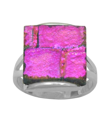 Sterling Silver Dichroic Glass Magenta-Purple Square-Shaped Ring, Size 7