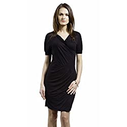 SbuyS Black Fitted Wrap Pleated Knee Length Dress
