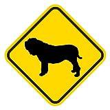 黄色い注意標識のマグネットサイン:ナポリタンマスティフ(Lサイズ) 犬飛出し注意 道路警戒標識 アメリカン カーマグネット マグネットステッカー
