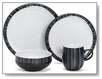 Denby Jet Stripes 4-Piece Place Setting, Service for 1