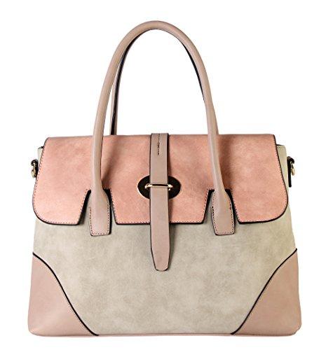 diophy-pu-leather-three-tone-zipper-closure-bayswater-womens-purse-shoulder-handbag-cl-3501-beige