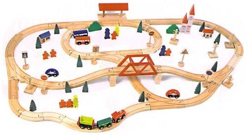 Acquistare pista in legno 90 pezzi con 1 trenino e 2 vagoni 6 scambi compatibile con brio - Trenino di legno ikea ...