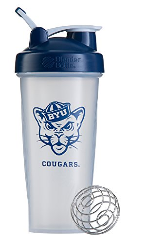 BlenderBottle Classic NCAA Collegiate Shaker Bottle, Brigham Young University - Clear/Blue, 28-Ounce
