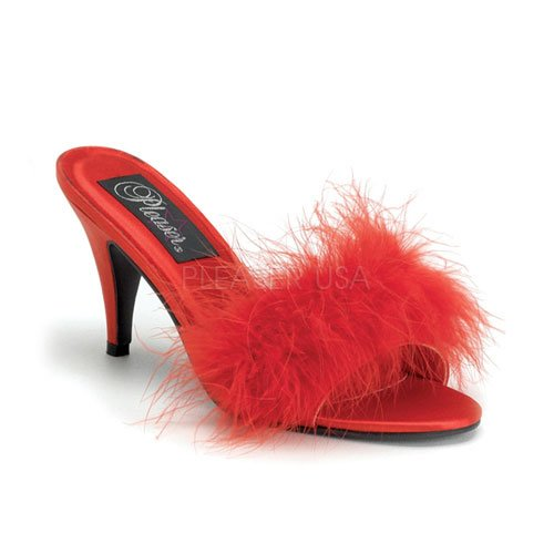 Cheap 3 inch Classic Marabou Slipper Red Satin-Fur (B007D500BE)