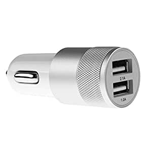 Modocee 2.1 A Dual Port Hi-Speed USB Car Charger for Spice Smart Flo Mettle 5X - (White)