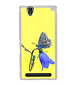 Butterfly on a Flower 2D Hard Polycarbonate Designer Back Case Cover for Sony Xperia T2 Ultra :: Sony Xperia T2 Ultra Dual SIM D5322 :: Sony Xperia T2 Ultra XM50h