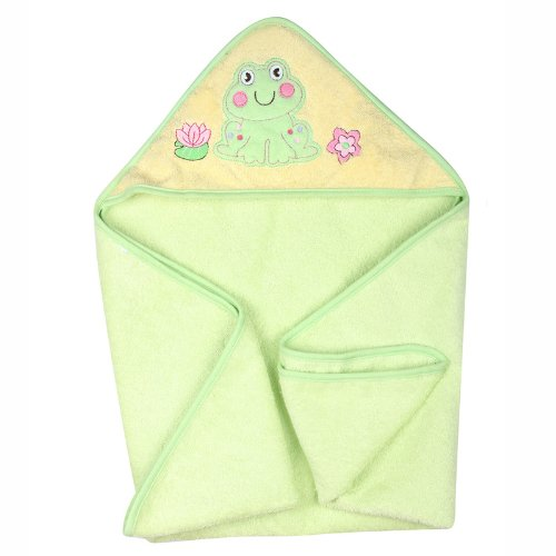 Dele Cotton Embroidery Towel Bath Towels Blankets (Fruit Green Frog) front-791342