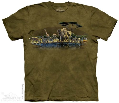 The Mountain Gathering Place African Safari Elephant Giraffe Zebra Tee T-Shirt Adult L front-128260