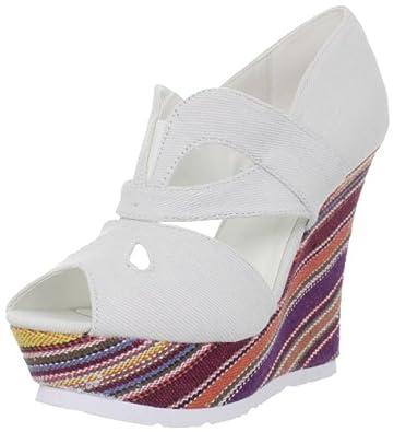 Fahrenheit Women's Larissa-02 Wedge Sandal,White,7 M US