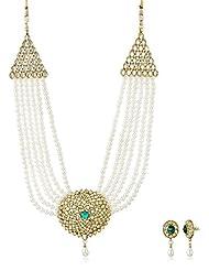 Sia Art Jewellery Pearl Jewellery Set For Women (Golden) (AZ2039)