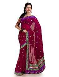 Designersareez Women Chiffon Embroidered Dark Magenta Saree With Unstitched Blouse(1160)