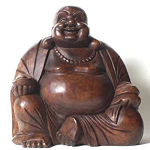 Laughing Buddha Large Wooden Statue Carving 40cms Amazon