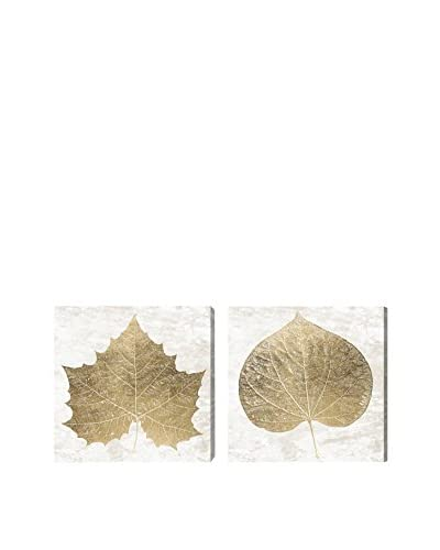 Oliver Gal Gold Leaves Diptych Canvas Art