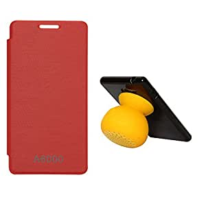 DMG Premium Flip Cover Case for Lenovo A6000 (Deep Red) + Bluetooth Suction Stand Speakers