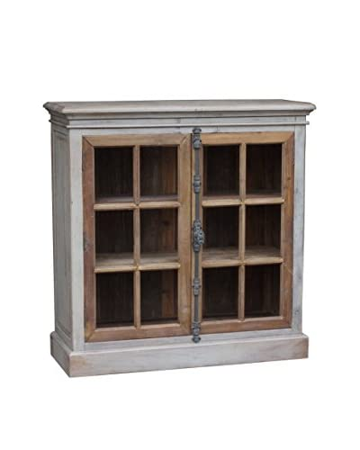 White x White Mallory Cabinet, Distressed Gray/Natural Pine