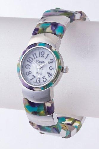 Contempo Couture Colored Glass Cuff Watch (Black/Silver)