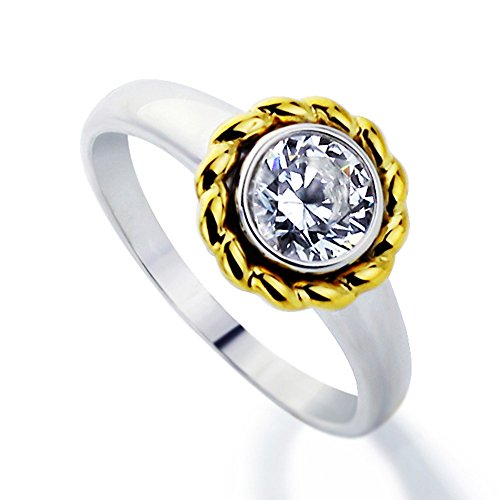 Sterling Silver Gold Plated Two Toned, Round 1 Carat Cz Bezel Set Solitaire Engagement Ring( Size 5 To 9 )