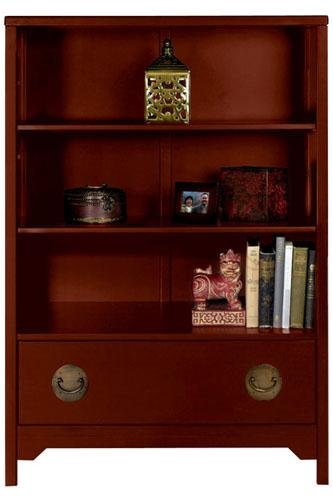 "Wuchow 31""w Open Bookcase Three-shelf Antique Red"