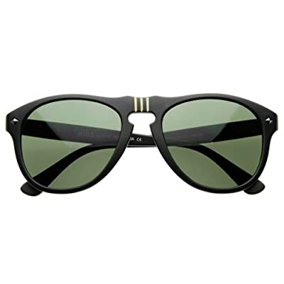 zeroUV - Vintage Designer Round P-3 Frame Key-Hole Horn Rimmed Sunglasses Matte Color (Black)