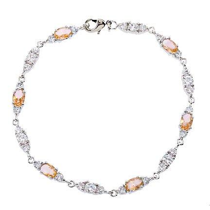 Trio Link Champagne Gemstone C.Z. Diamond Bracelet
