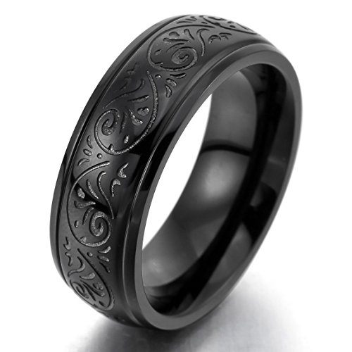 Men'S 7Mm Stainless Steel Ring Band Black Engraved Florentine Design Charm Elegant Size9