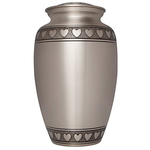 Funeral Urn by Liliane - Cremation Urn for Human Ashes - Hand Made in Brass and Hand Engraved - Fits the Cremated Remains of Adults - Display Burial Urn at Home or in Niche at Columbarium - Corazones Model (Pewter, Large) (Urn Pewter compare prices)